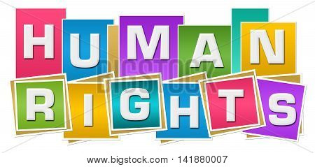 Human rights text alphabets written over colorful background.