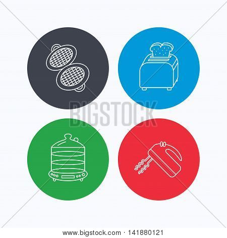 Waffle-iron, toaster and blender icons. Steamer linear sign. Linear icons on colored buttons. Flat web symbols. Vector