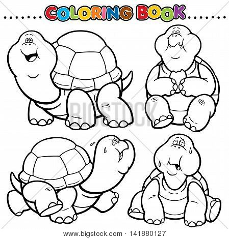 Vector Cartoon Animals Coloring Book - Turtle