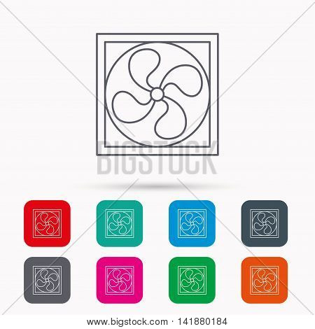 Ventilation icon. Fan or propeller sign. Linear icons in squares on white background. Flat web symbols. Vector