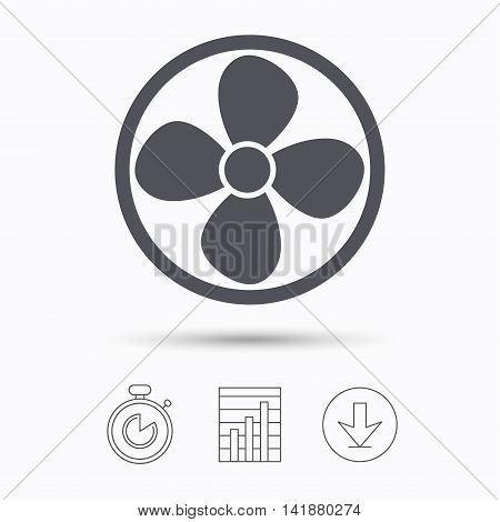 Ventilation icon. Air ventilator or fan symbol. Stopwatch, chart graph and download arrow. Linear icons on white background. Vector