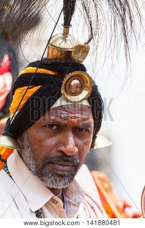 KEDARNATH, INDIA - JUNE 1 - 2013: A sadhu of the Jangama Hindu sect in Kedarnath
