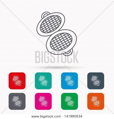 Waffle iron icon. Kitchen baking tool sign. Linear icons in squares on white background. Flat web symbols. Vector