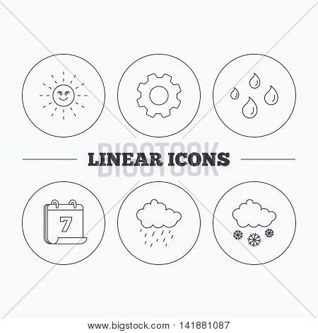 Weather, sun and rain icons. Snow linear sign. Flat cogwheel and calendar symbols. Linear icons in circle buttons. Vector