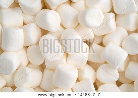 Close view of small bite size marshmallows illuminated with natural light.