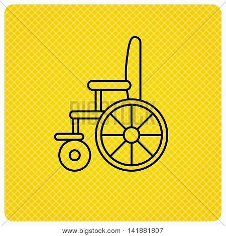 Wheelchair icon. Disabled traffic sign. Linear icon on orange background. Vector