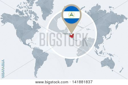 Abstract Blue World Map With Magnified Nicaragua.