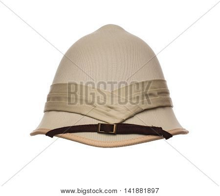 Colonial style safari pith hat isolated on white background