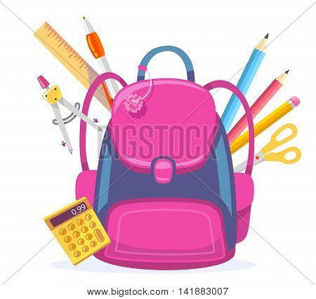 Vector colorful illustration of big pink girly backpack with calculator and other school supplies isolated on white background. Art school design for web site advertising banner poster brochure board