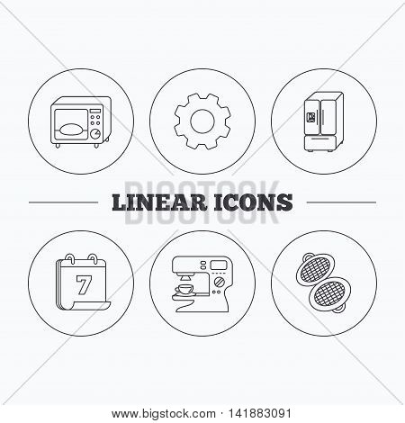 Microwave oven, waffle-iron and American style fridge icons. Coffee maker linear sign. Flat cogwheel and calendar symbols. Linear icons in circle buttons. Vector