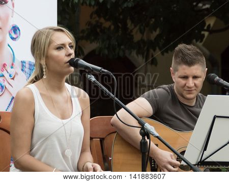 Concert Of Attila Mester And Edina Juhasz On Keszthely Street Festival