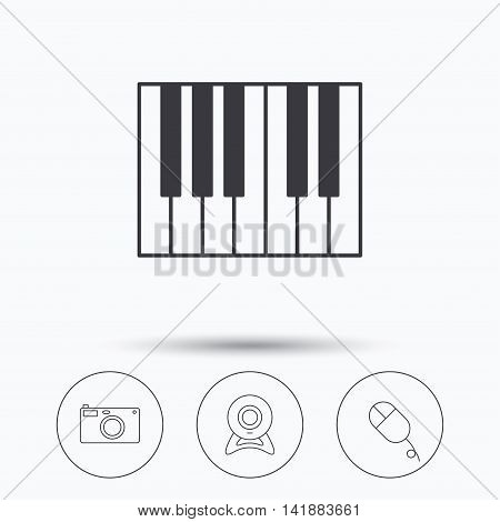 Piano, web camera and photo camera icons. PC mouse linear sign. Linear icons in circle buttons. Flat web symbols. Vector