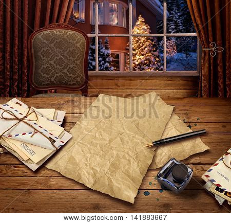 Christmas wish present list letter to Santa, snowy background