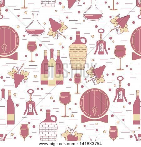 Seamless pattern with winemaking design element on white background. Can be used for poster design wrapping paper surface texture web backgrounds print on textile and covers