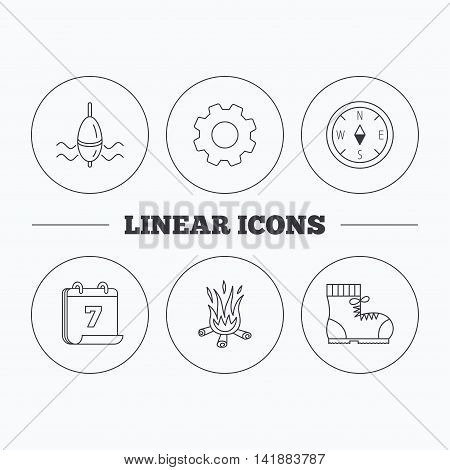 Bonfire, fishing float and hiking boots icons. Compass linear sign. Flat cogwheel and calendar symbols. Linear icons in circle buttons. Vector