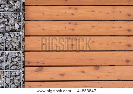 Closeup blinds wood stone wall - Copy Space