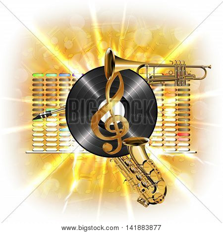 Musical background flash treble clef vinyl sax and trumpet in the background clarified equalizer. Made without borders with whitened can be used with any text or image on a white background.