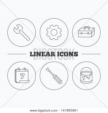 Wrench key, screwdriver and paint bucket icons. Toolbox linear sign. Flat cogwheel and calendar symbols. Linear icons in circle buttons. Vector