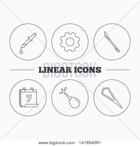 Pipette, medical scalpel and clyster icons. Tweezers linear sign. Flat cogwheel and calendar symbols. Linear icons in circle buttons. Vector