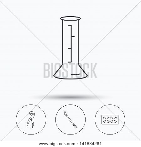 Lab beaker, tablets and dental pliers icons. Scalpel linear sign. Linear icons in circle buttons. Flat web symbols. Vector