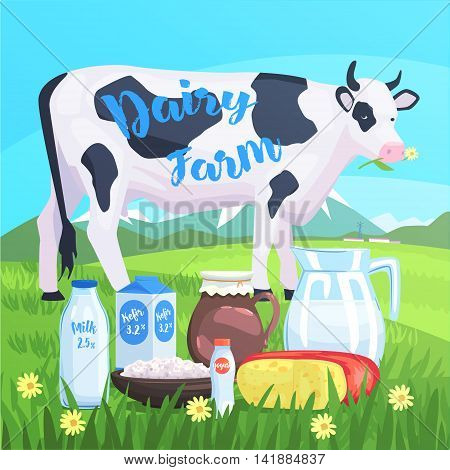 Landscape With Cow And Milk Products On The Foreground. Bright Color Funky Flat Illustration In Childish Style.