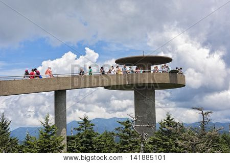 CLINGMANS DOME GREAT SMOKY MOUNTAIN NATIONAL PARK JULY 14: Clingmans Dome On July 14 2016 Is A Overlook In The Smoky Mountain National Park In Bryson City NC