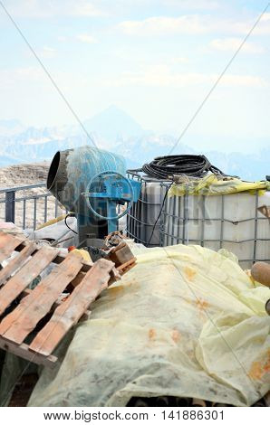 Cement Mixer On Construction Site in mountain