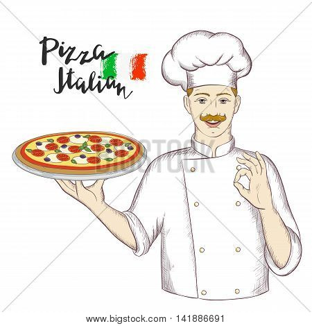 Chef holding a dish with pizza and giving an okay sign. Vector sketch illustration for restaurants menu, pizzeria, food sites and cooking magazines.