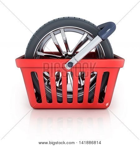 Shop bag and wheel (done in 3d rendering)