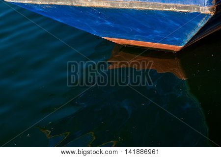 Boat sert in harbour, blue sky, clouse-up