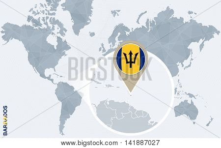 Abstract Blue World Map With Magnified Barbados.