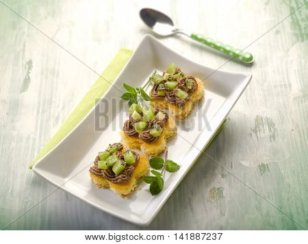 kiwi pastry with chocolate cream,  selective focus