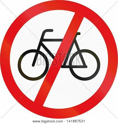 Road Sign Used In The African Country Of Botswana - Cyclists Prohibited