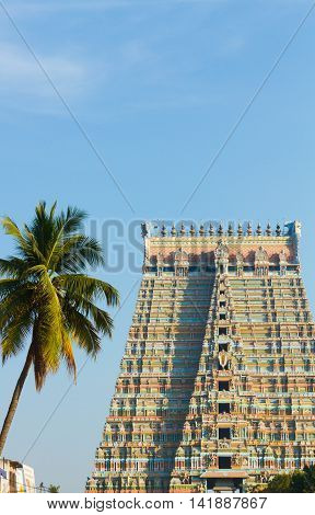 A South Indian Temple Gate or Gopuram. This is the Main Gate of the Sri Rangam Temple Town in Tamil Nadu South India.