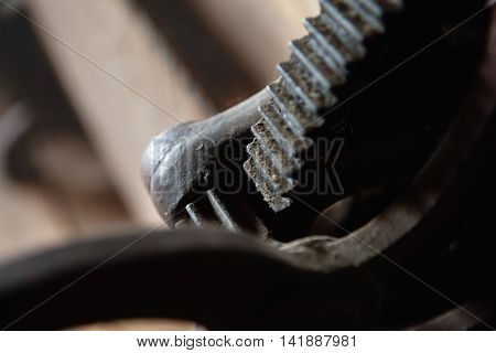 Deatail of rusty gear, old machine clouse-up