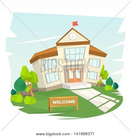 School building. Welcome to school. Vector illustration