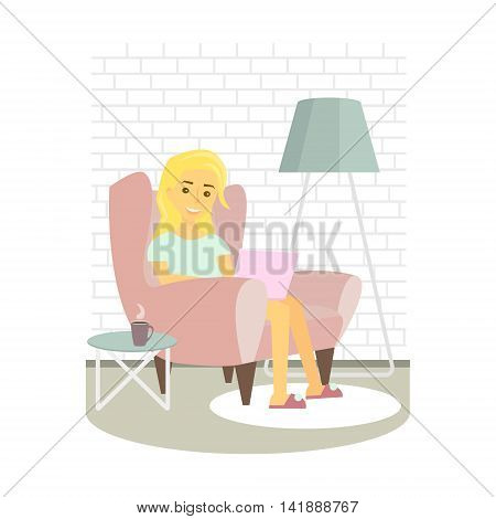 Young woman relaxing on armchair and browsing Internet . Girl with laptop at home. Vector illustration