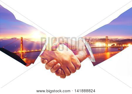 Businesspeople shaking hands on city background with sunlight. Double exposure