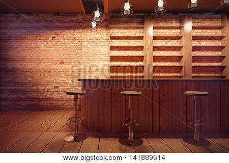 Bar interior with wooden counter stools and shelves on brick wall background. 3D Rendering