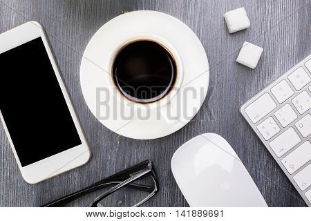 Mobile Phone And Coffee Cup