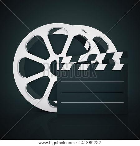 Film reel and clapper on dark background. Mock up 3D Rendering