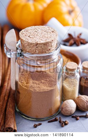 Homemade pumpkin pie spice in a glass jar with ingredients