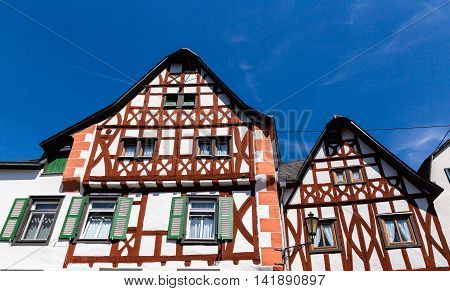 Historic house facade of Ediger-Eller Mosel background picture