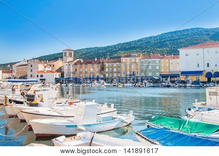 Boats in marine in town of Cres, waterfront, Island of Cres, Kvarner, Croatia
