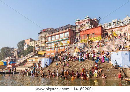 VARANASI, INDIA -FEB 19 -The ghats of Varanasi in North India on February 19th 2013