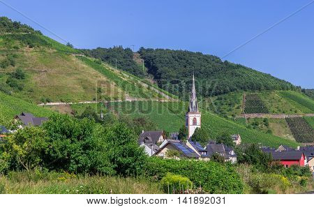 Historic church tower of Ediger-Eller Mosel background picture