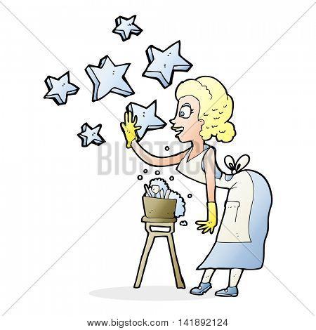 cartoon housewife washing dishes