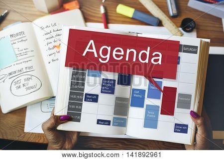 Agenda Apppointment Goals Information List Plan Concept