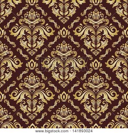 Seamless oriental pattern in the style of baroque. Traditional classic pattern. Golden pattern. Orient pattern. Brown and golden pattern. Colored pattern. Asian pattern