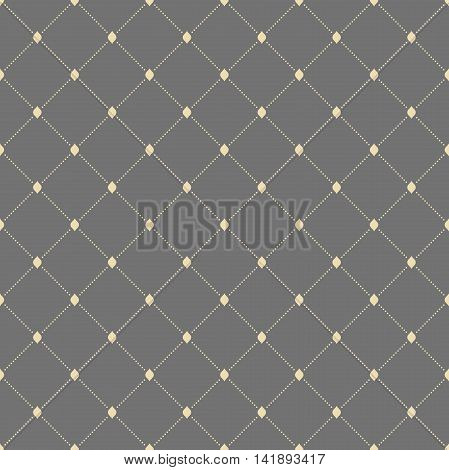 Geometric repeating pattern with diagonal dotted lines. Seamless abstract modern pattern. Gray and golden pattern. Dotted pattern. Geometric modern pattern